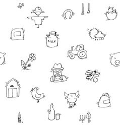 Seamless pattern Hand drawn Farm icon set vector image vector image