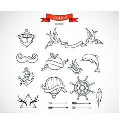 Set of modern Tattoo Art vector image vector image