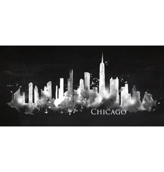 Silhouette chalk Chicago vector image