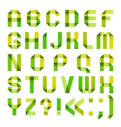 Spectral letters folded of paper ribbon-green and vector image