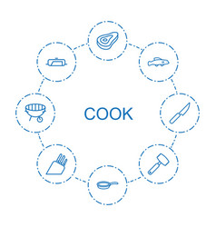 8 cook icons vector