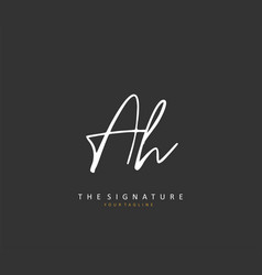 A h ah initial letter handwriting and signature vector