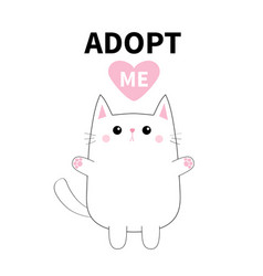 Adopt me white contour cat silhouette pink heart vector