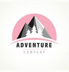 adventure mountain tree logo vector image