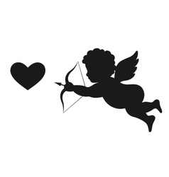 Angel Amur Cupid on Wings with Bow Arrow and Heart vector