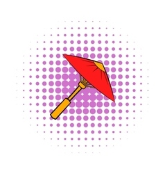 Asian red parasol or umbrella icon comics style vector image
