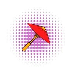 Asian red parasol or umbrella icon comics style vector
