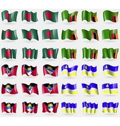 Bangladesh Zambia Antigua and Barbuda Buryatia Set vector image