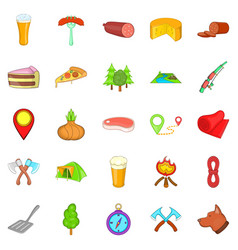 Bbq lunch icons set cartoon style vector