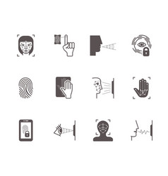 biometric recognition system icons set face vector image