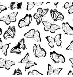 black and white flying butterflies seamless patter vector image