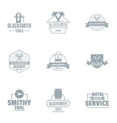 Blacksmithing logo set simple style vector