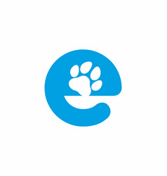 Blue e initial letter with animal paw shape vector