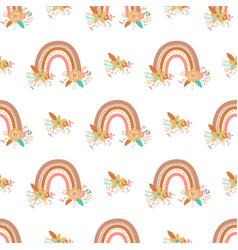 boho chic floral rainbow pattern cute romantic vector image