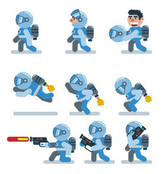 characters astronaut game flat icon man cartoon vector image
