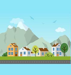 city urban landscape cottages and vector image