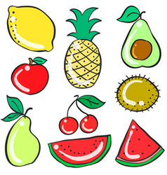 Collection stock of fruits various doodles vector