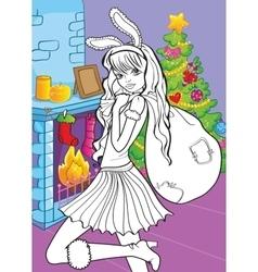 Coloring Book Of Beautiful Girl With Santa Bag vector