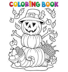 Coloring book thanksgiving image 4 vector