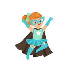Comic brave kid in superhero blue costume with vector