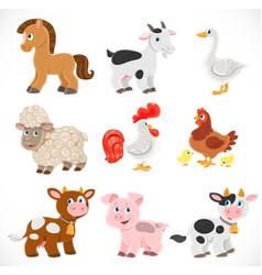 cute cartoon farm animals set isolated on a white vector image