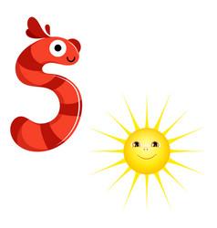 Cute kids cartoon alphabet letter s vector