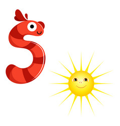 Cute kids cartoon alphabet letter s with vector