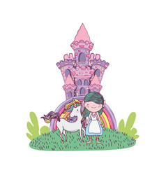 Cute little fairy with castle and unicorn vector
