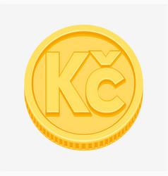 Czech koruna symbol on gold coin vector