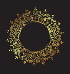 Decorative indian round lace ornate gold mandala vector