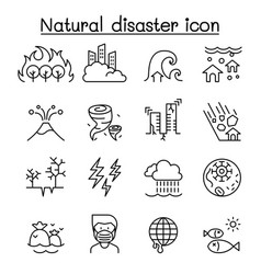 Disaster icon set in thin line style vector