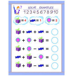 Educational page for children on addition and vector