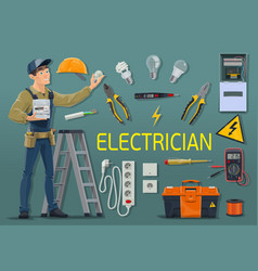 Electrician with electricity meter and work tools vector