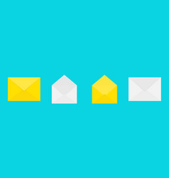 email icon white and yellow paper envelope set vector image