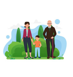 family people walk in summer city park together vector image