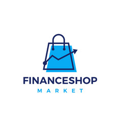 finance shop market shopping bag graph chart logo vector image