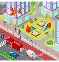 Firefighters Extinguish a Fire in House Isometric vector image