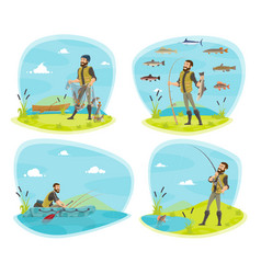 Fishing sport icon of fisherman with fish vector