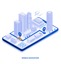 flat color modern isometric design - mobile vector image