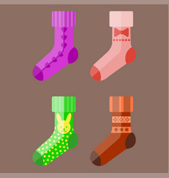 flat design colorful socks set vector image
