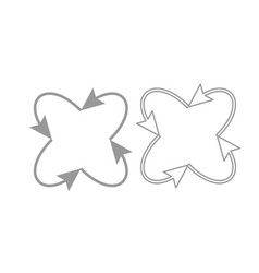Four arrows in loop in and from center icon set vector