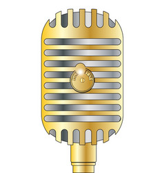 Golden microphone vector