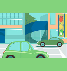 green cars on street road vector image