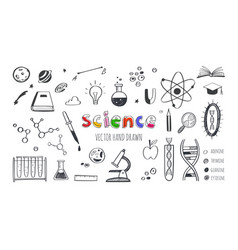 hand drawn science and education doodle set vector image