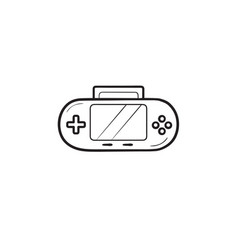 handheld game console hand drawn outline doodle vector image