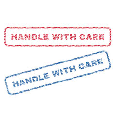 Handle with care textile stamps vector