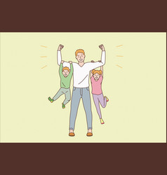Happy parenthood and childhood concept vector