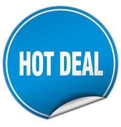 Hot deal round blue sticker isolated on white vector