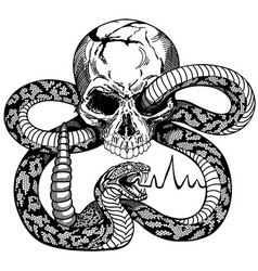 Human skull and snake black and white tattoo vector