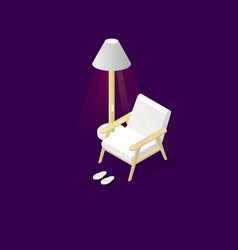 Isometric furniture set with armcheirlamphome vector